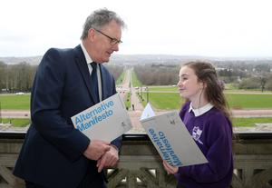 Mike Nesbitt chats with Keisha Fee of Mallusk Integrated Primary School