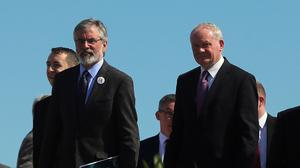 Sinn Fein's Gerry Adams and Martin McGuinness during the launch of the party's General Election manifesto in Dungannon