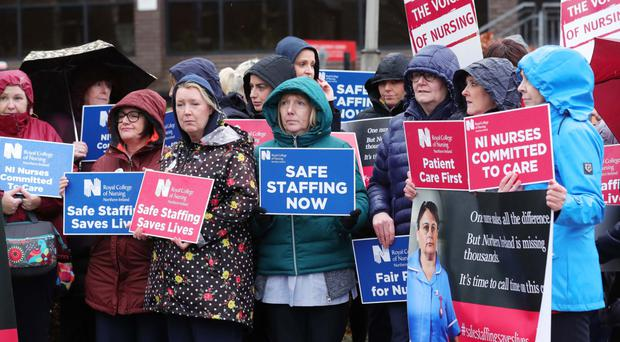 RCN workers on the picket line outside Belfast City Hospital