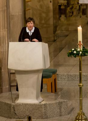 Martina speaking from the pulpit