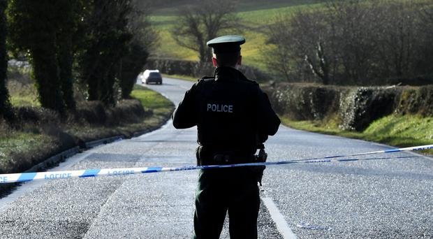 Police cordoned off the scene on the Tandragee Road in Poyntzpass