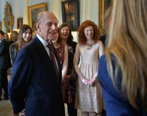 The Duke of Edinburgh with some of the participants who received their Gold Award Certificates at Hillsborough Castle yesterday