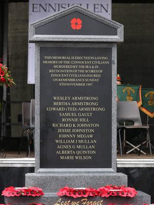 The memorial to the victims of the Poppy Day bombing in Enniskillen