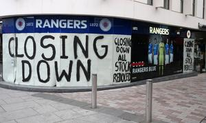 The Rangers club store at Ann Street in Belfast is closing down