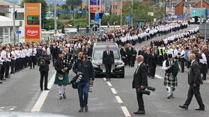 The funeral procession of senior Irish Republican and former leading IRA figure Bobby Storey (Liam McBurney/PA)