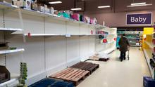 Shop shelves around the UK have been stripped bare due to panic buying
