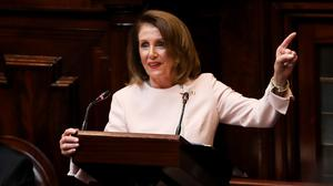 Speaker of the House of Representatives Nancy Pelosi delivers an address in Leinster House (Maxwell Photography/PA)