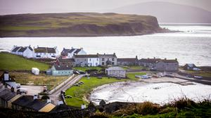 Rathlin harbour, where Bertie Curry was told he could not travel on the ferry