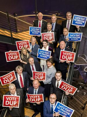 DUP leader Arlene Foster joined her party's Westminster candidates at the launch of a new 12-point policy plan in Belfast (Liam McBurney/PA)