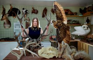 Taxidermist and Game of Thrones supplier of creature and fur skins Ingrid Houwers pictured in her workshop with some of her creations