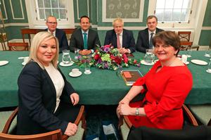 New beginning: First Minister Arlene Foster (right) and Deputy First Minister Michelle O'Neill with (back, from left), the then Tanaiste Simon Coveney, Taoiseach Leo Varadkar, Prime Minister Boris Johnson and Secretary of State Julian Smith