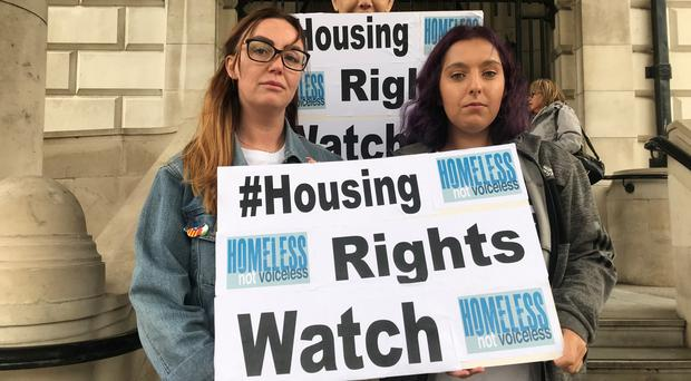 (l-r) Marissa McMahon, Sean Kane and Jasmine Carbery of Homeless Not Voiceless at Belfast City Hall before Jasmine addressed a special meeting of the People and Communities Committee. (Rebecca Black/PA)