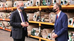 Michael Gove during a visit to the Ulster Carpets factory in Co Armagh (Press Eye/PA)