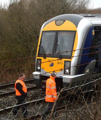 The windscreen of the Portadown to Lisburn train which was smashed yesterday