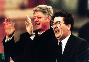 Bill Clinton with John Hume in Derry in 1995