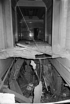 The 30lb bomb planted at the Tavern In The Town detonated with such force it blew out the floor above, as pictured here (PA)