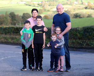 Challenge: Emma Carragher with her husband Ronan and children Ryan, Aidan, Grace and Daithi