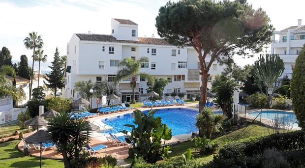 The swimming pool in Las Lagunas de Mijas, southern Spain, where three members of a British family died on Chistmas Eve
