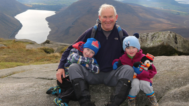 Robert Robinson on a hill walking trip with two of his grandchildren