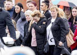 Patricia with family members at Stephen's funeral