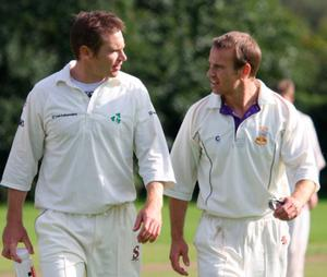 Andrew Patterson on the cricket pitch with his brother Mark in 2008