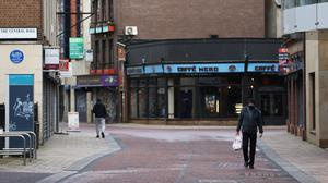 An empty street in Belfast as Northern Ireland remains in an extended lockdown to curb the spread of coronavirus and lower infection rates (/PA)