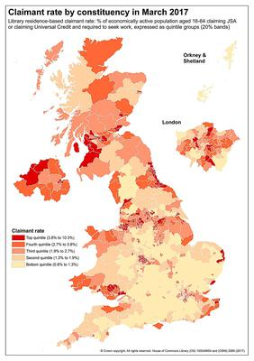 People claiming unemployment benefits by constituency, March 2017