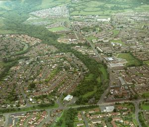 An aerial view of Colin Glen Forest Park