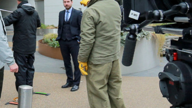 Actor Martin Compston during filming at the Obel building in Belfast