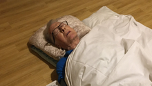 Ordeal: Anne Madden's father lies on care home floor after suffering fall