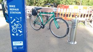 The bike service station that was established on the Comber Greenway