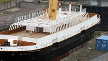 The SS Nomadic under repair in the dry dock