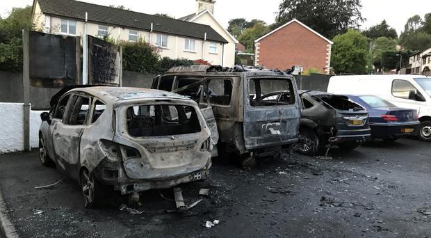 The remains of the vehicles near Larne Football Club