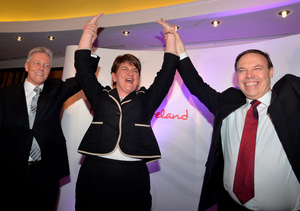 Arlene Foster is congratulated after being named leader of the DUP in 2015