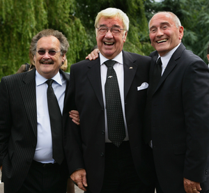 Bobby Ball (left) with Tommy Cannon and Frank Carson(centre)