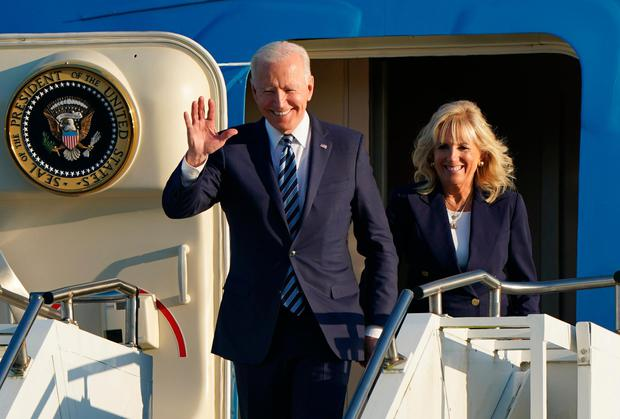 Landed: US President Joe Biden and First Lady Jill Biden arrive on Air Force One at RAF Mildenhall in Suffolk, ahead of the G7 summit in Cornwall. Credit: WPA Pool/Getty Images