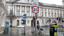 A 20mph speed limit sign on Linenhall Street in Belfast