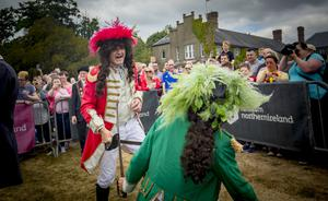 King William (played by John) is victorious in the Sham Fight with King James (Colin Cairns) at Scarva on July 13, 2018. Photo by Kevin Scott for Belfast Telegraph