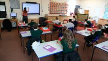 A socially distanced lesson in Bovingdon Primary School in Hertfordshire