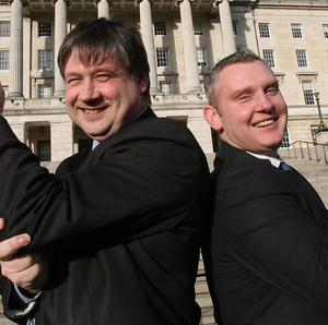 NI21 leader Basil McCrea (left) and deputy leader John McCallister, as the leader of Northern Ireland's newest political party denied allegations of inappropriate sexual behaviour