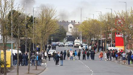 Disruption: Loyalist protestors block Lanark Way in west Belfast last week
