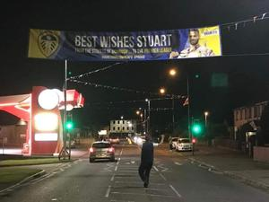 The 'good luck' banner in Cookstown for Stuart Dallas