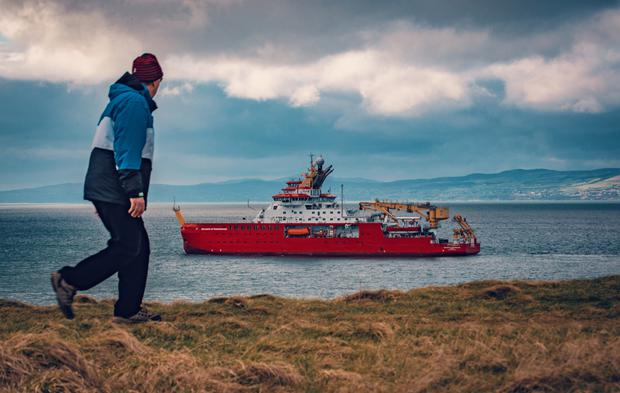 Rare sight: RRS Sir David Attenborough in the waters off Portrush on Monday