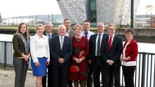 Professor Alastair Adair, chair of the judges, with title sponsor representative Clare McAllister, sales and marketing manager of Electric Ireland, and the judging team at Belfast Telegraph House prior to judging the Property Awards