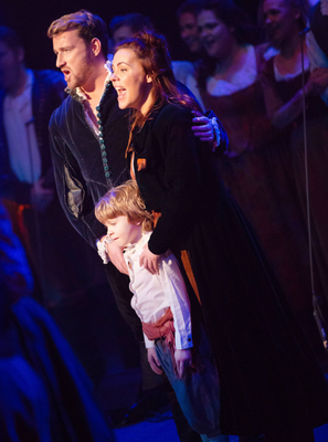 Rachel Tucker and her son Ben on stage with co-star Jai McDowell