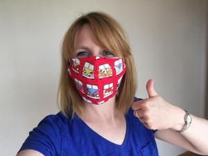 Ciara Duddy with one of the finished face masks