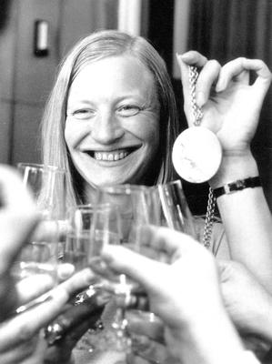 Mary Peters with her Olympic gold medal in 1972
