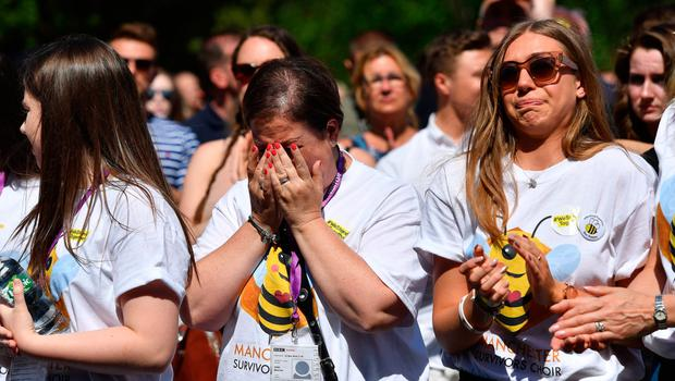 Crowds gather for the Manchester Arena remembrance service at Manchester Cathedral yesterday