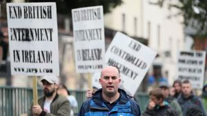 Dissident republican Dee Fennell in the anti-internment parade in Belfast