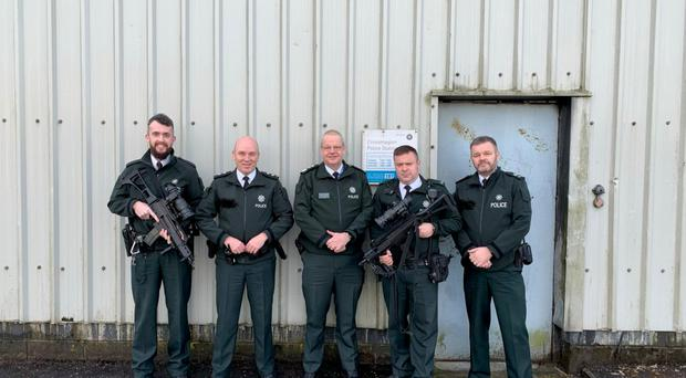 The photograph posted on Twitter by Chief Constable Simon Byrne (centre) on Christmas Day